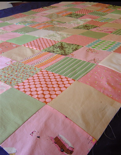 Pink & Green baby quilt top close up | by alissahcarlton