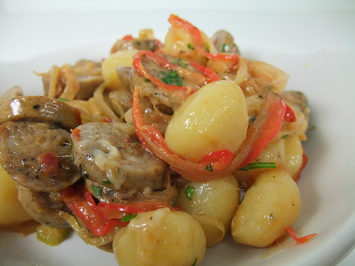 Gnocchi with Chicken Sausage, Bell Pepper and Fennel | by swampkitty