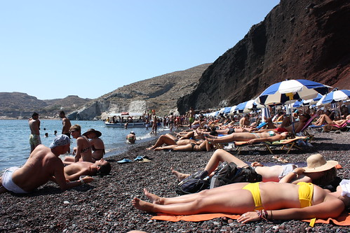 "Red Beach, Santorini | People sunbathing at the ""Red Beach ..."