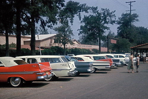Cars with fins, parking lot at Knott's Berry Farm, 1960 | by lreed76