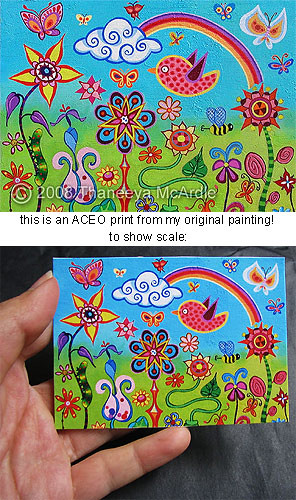 Shiny Happy Landscape - ACEO mini print of original painting | Flickr ...