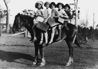 Children riding a horse to school, Glass House Mountains | by State Library of Queensland, Australia