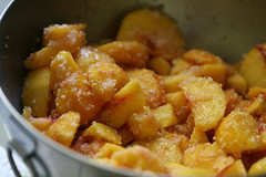 Peaches macerating in sugar with quick tapioca | by Elise Bauer