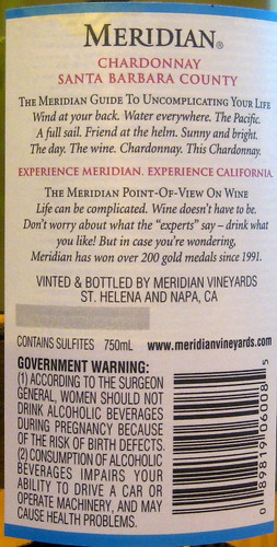 Meridian 2006 Chardonnay (back) | by 2 Guys Uncorked