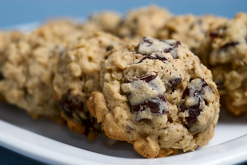 Dark Chocolate Chunk and Dried Cherry Oatmeal Cookies | by bakeorbreak