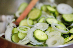 Stir sliced onions and pickling cucumbers together with salt | by Elise Bauer