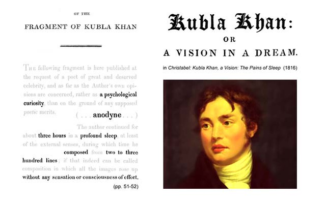 essay on kubla khan Samuel coleridge's poem kubla khan is a supremely beautiful example of the romantic belief regarding creative thought and the creative process it is a whimsical peek at the nature of the unconsicious and at the art of inspiration and holding on to imagination that has captivated many for its.