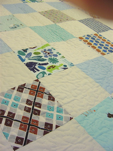 Simple Squares Baby Boy Quilt - Close up | by alissahcarlton