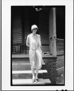 "Tennessee v. John T. Scopes Trial: Ova Corvin (""Precious"") Rappleyea, standing on steps of the Defense Mansion. 