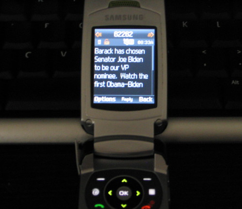 Barack Obama announces his Vice President by text message!  First time in US History | by adria.richards