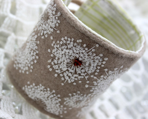 Queen Anne's Lace Embroidered Wool Cuff | by waterrose