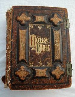 Holy Bible, dated 1885, antique gold lettering, leather and board, held together with dental floss | by Wonderlane