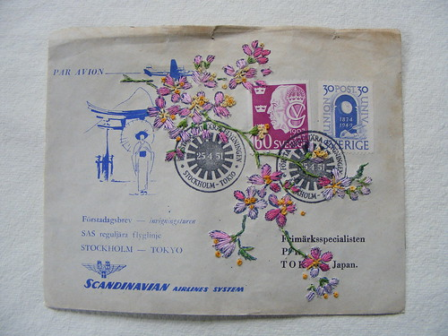 Embroidered Envelope Stockholm to Japan | by hens teeth
