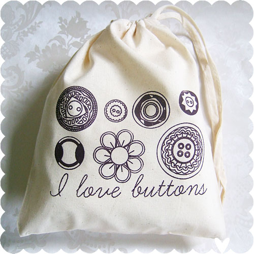 I Love Buttons bag