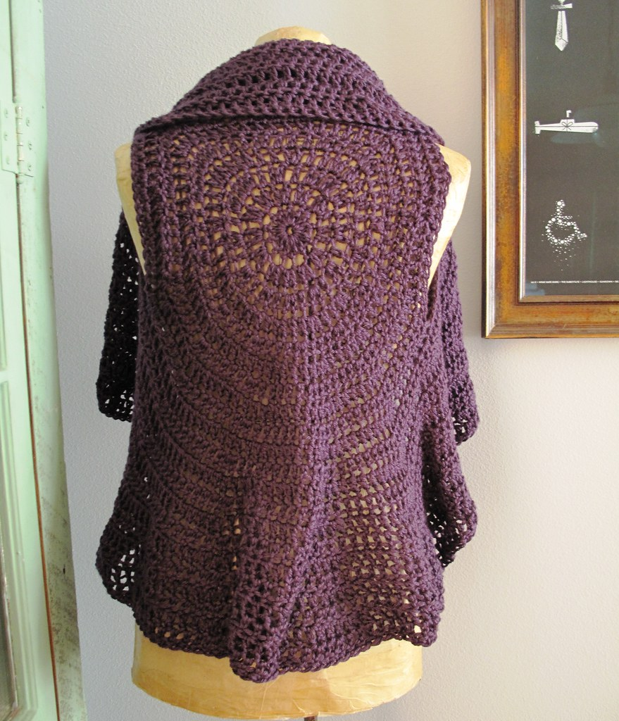 Crochet Circle Pattern Crocheted Circle Vest Back