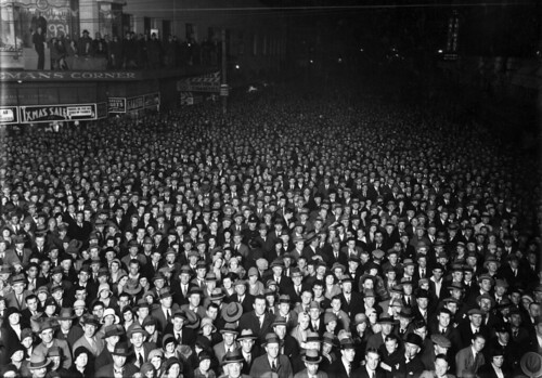 Election night crowd, Wellington, 1931 | by National Library NZ on The Commons