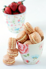 Powdered Strawberry Macarons | by tartelette