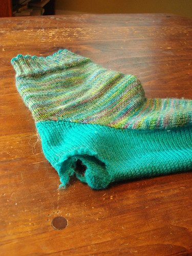 large hole in handknit sock | by MandyPowers