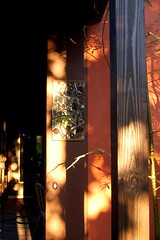 Evening Falls On Front Bamboo Gate And Sparkling Broken Mi