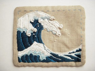 a small great wave, embroidery completed | by kleio's belly