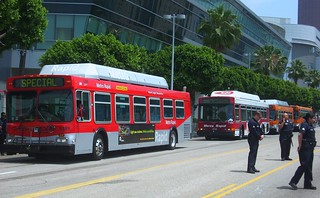 Metro buses and LAPD at Lakers parade | by LA Wad