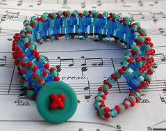 turquoise and red fringed peyote cuff | by randomcreative
