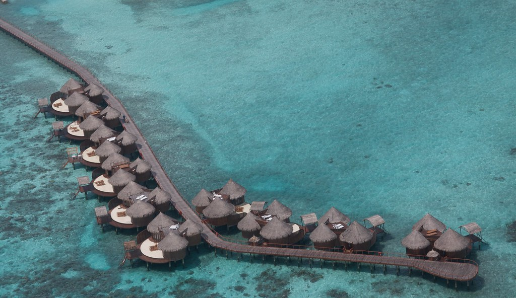 Nika water bungalows from the air
