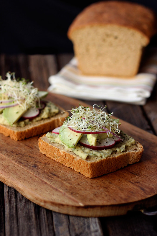 Gluten-free Toast with Herbed White Bean Spread, Avocado, Radish and Sprouts