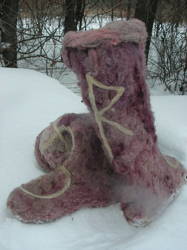 felted wool boots in progress