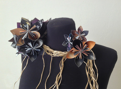 How to make japanese paper flower jewelry tutorial the beading a garland of paper flowers detail mightylinksfo Gallery