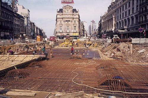 1974 Place De Brouckere lors de la construction de la station de metro