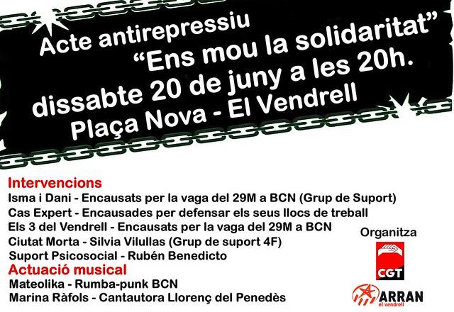 Acte antirepressiu el 20 de juny a El vendrell