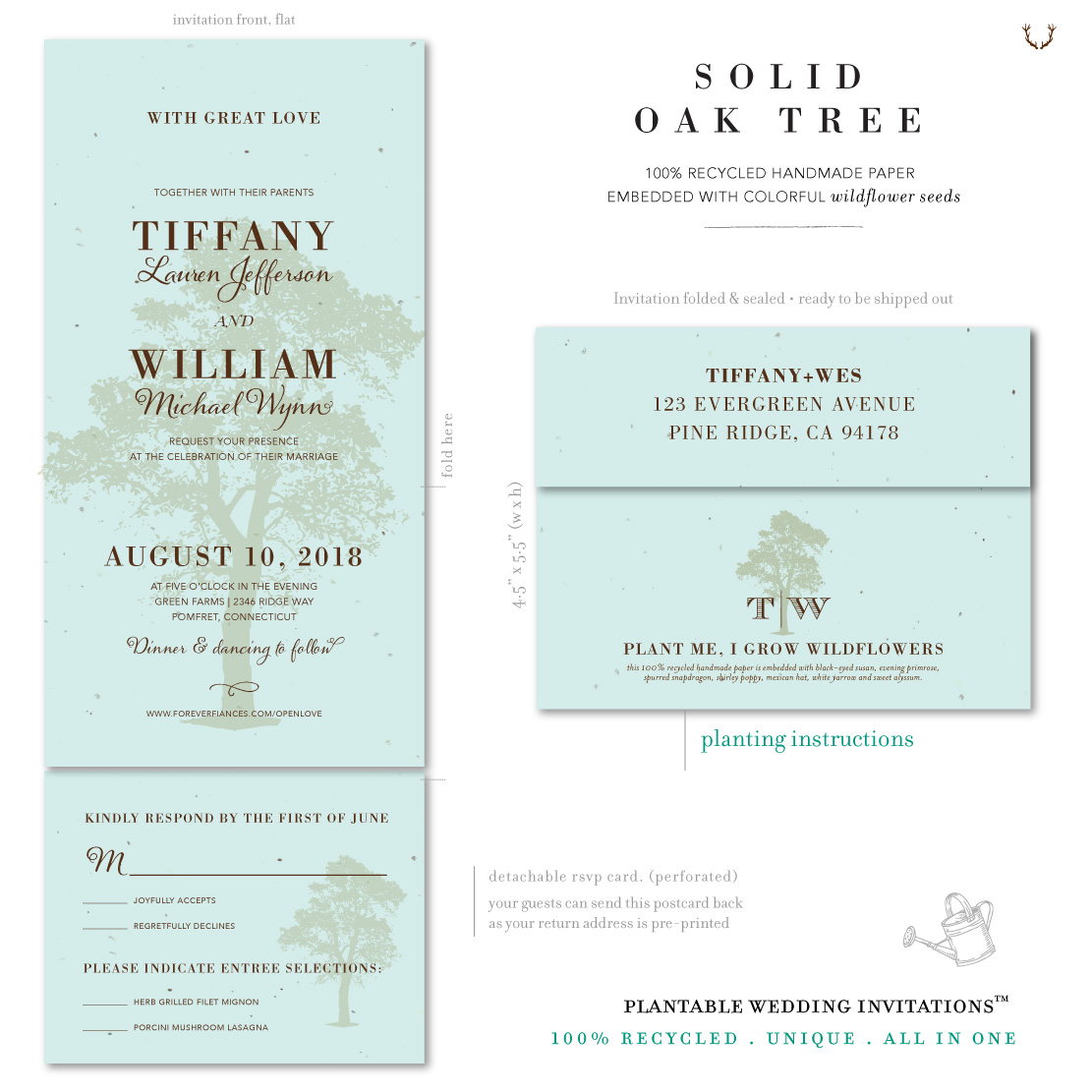 Tiffany blue wedding invitations ~ Solid Oak Tree