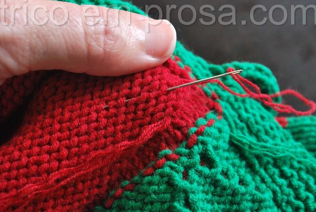 tricô em prosa - temporada de morangos - Como embutir as pontas