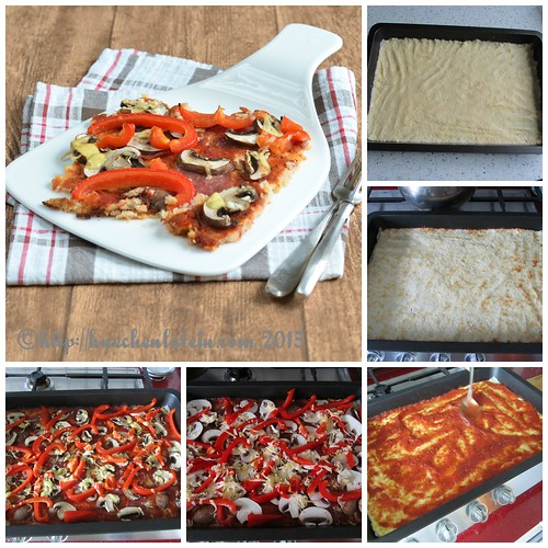 ©Pizza mit cauliflower crust - Blumenkohlboden Collage