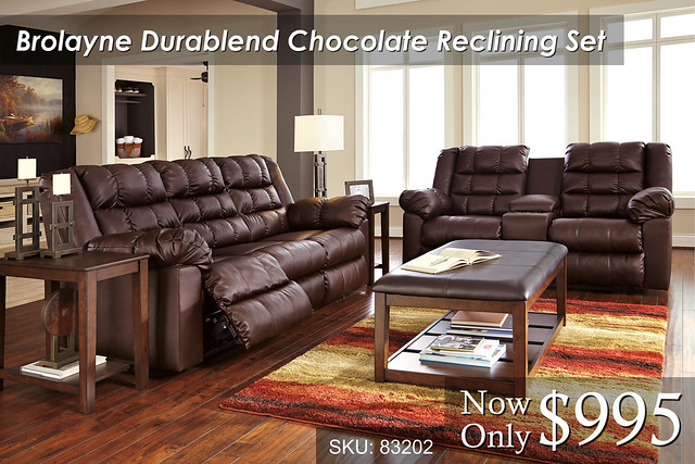 Brolayne Chocolate Reclining Set