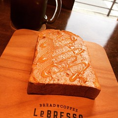 peanut butter & honey FTW♡ #breakfast #peanutbutter #honey #lebresso @le_bresso #osaka #japan