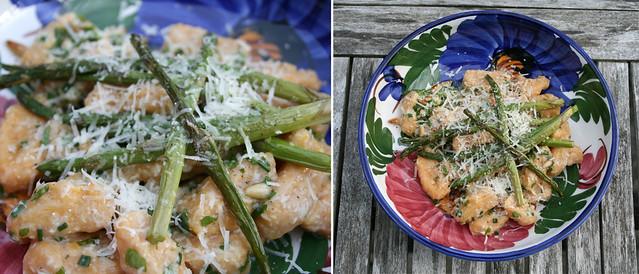 gnocchi with roasted asparagus and homemade pesto