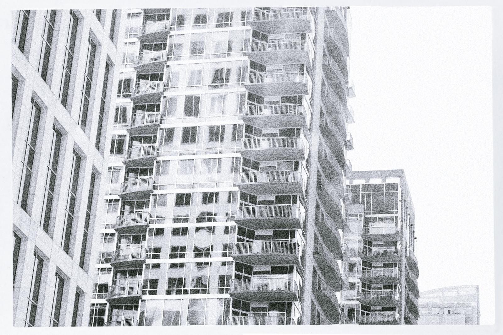 Looking from 999 Peachtree Street building toward 8th Street, Midtown's Miracle Mile, Atlanta