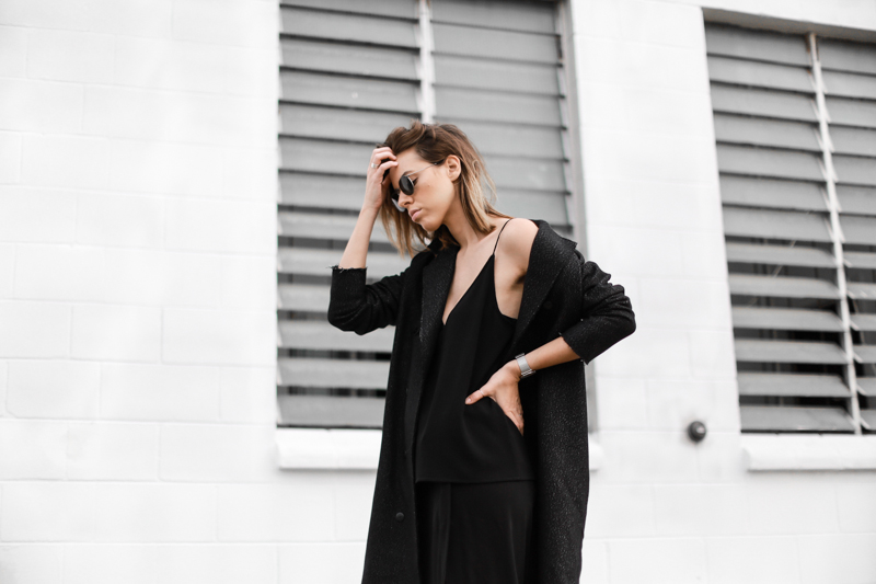 modern legacy, fashion blog, street style, all black, off duty, C&M Manhattan coat, Ray-Ban round sunglasses, editorial (1 of 1)