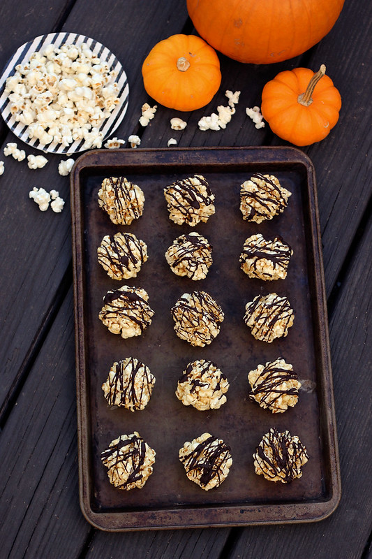 Dark Chocolate Drizzled Popcorn Balls - Gluten-free and Dairy-free