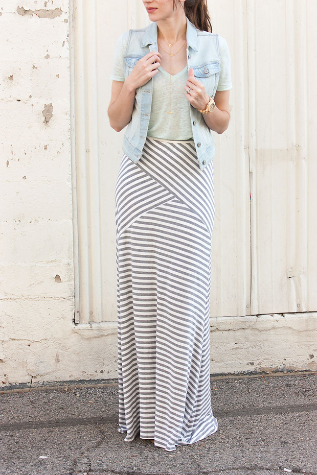 Striped Maxi SKirt, Mint tee, Denim Vest, Jord Watch, Gorjana Necklace