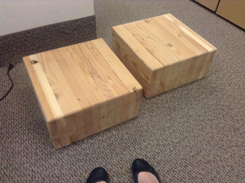 Awesome coffee tables made from two large wooden blocks