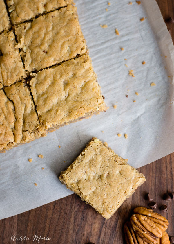 Blondies are a great platform for pretty much any food you want to put in them, my favorite is chocolate chip pecan
