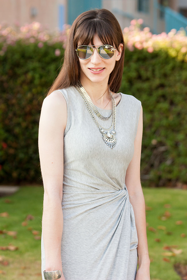 Happiness Boutique Necklace, Grey Midi Dress, Sunglasses