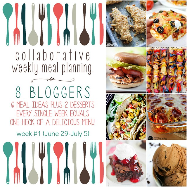 Collaborative weekly meal planning. 8 bloggers. 6 meal ideas plus 2 desserts every single week equals one heck of a delicious menu! Week 1
