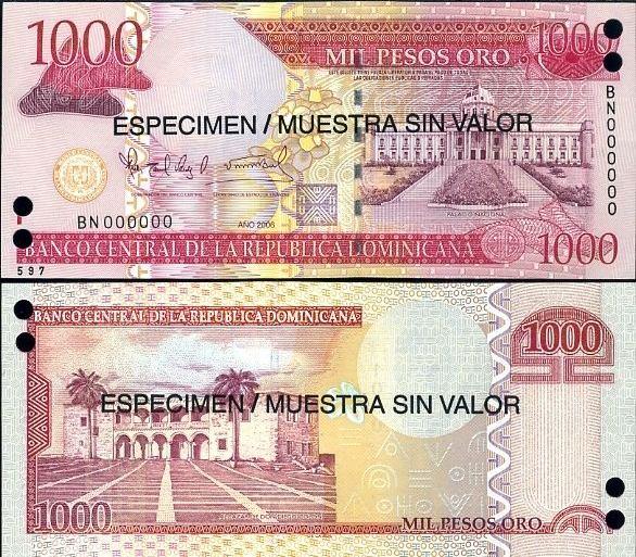 1000 Pesos Oro Dominikánska Republika 2006, specimen, Pick 173s