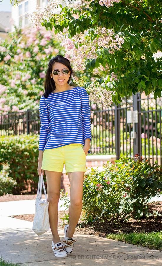 bright blue striped shirt, yellow shorts, canvas boat shoes