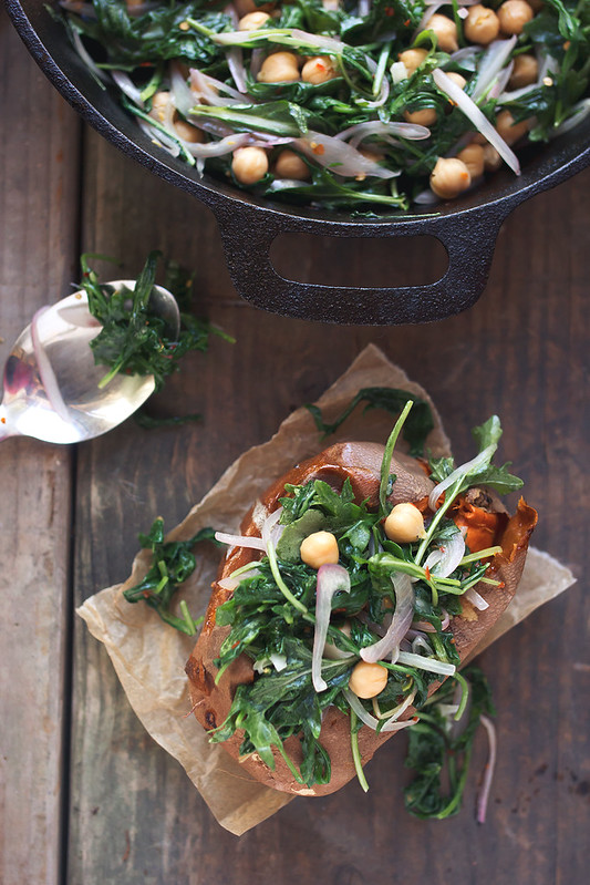 Beans and Greens Stuffed Sweet Potatoes