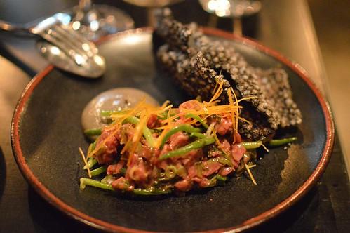 Beef tartare, umeboshi plum, sea banana